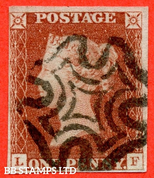 """SG. 7. A2. AS6. """" LF """". 1d red brown. Plate 1b. A very fine used example cancelled by a black maltese cross."""