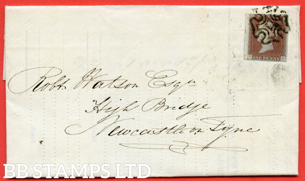 "SG. 7. AS33. "" KA "". 1d red brown. Plate 5. State 2. A fine used example on cover to NEWCASTLE ON TYNE dated 5th June 1841. With the "" Both corner squares and check letters thinned. ' K ' being very faint "" varieties."
