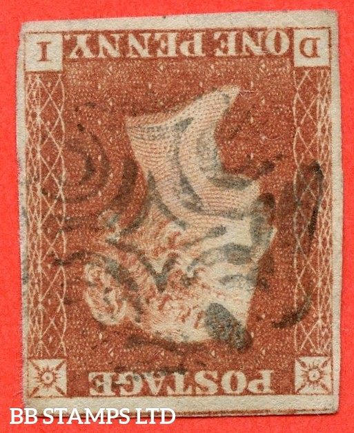 """SG. 7 wi. AS47 d. """" FF """". 1d red brown. Plate 8. INVERTED WATERMARK. A fine used example cancelled by a black maltese cross. With the constant varieties """" Vertical guide line NE sq. and ' O ' flaw."""