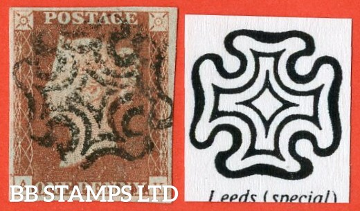 "SG. 7. AS57 ua. "" AK "". 1d red brown. Plate 9. "" LEEDS ' SPECIAL ' "" maltese cross. A superb used example with complete strike."