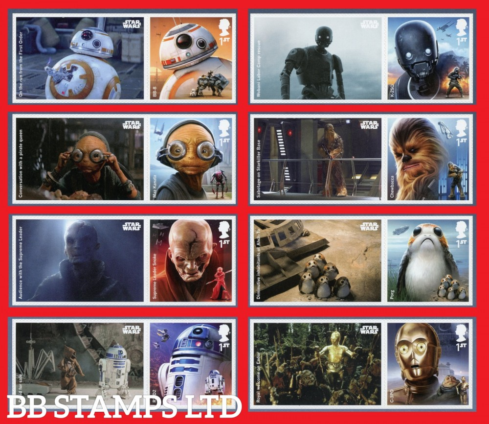 2017 Star Wars set of 8 stamps with labels (Labels May Vary)
