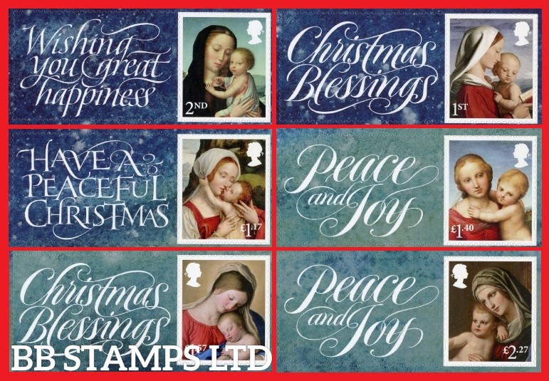 2017 Christmas set of 6 Single stamps with labels (Actual labels may vary)