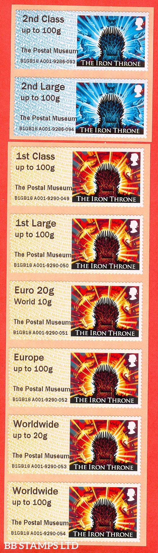 2018 Game Of Thrones - The Iron Throne: The Postal Museum 2nd - Worldwide 100g (set of 8) Type IIIA R18/CL18