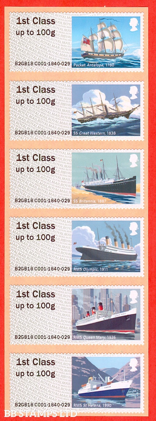 Royal Mail Heritage: Mail By Sea set of 6 1st Class: R18 Type IIIA (Pack)