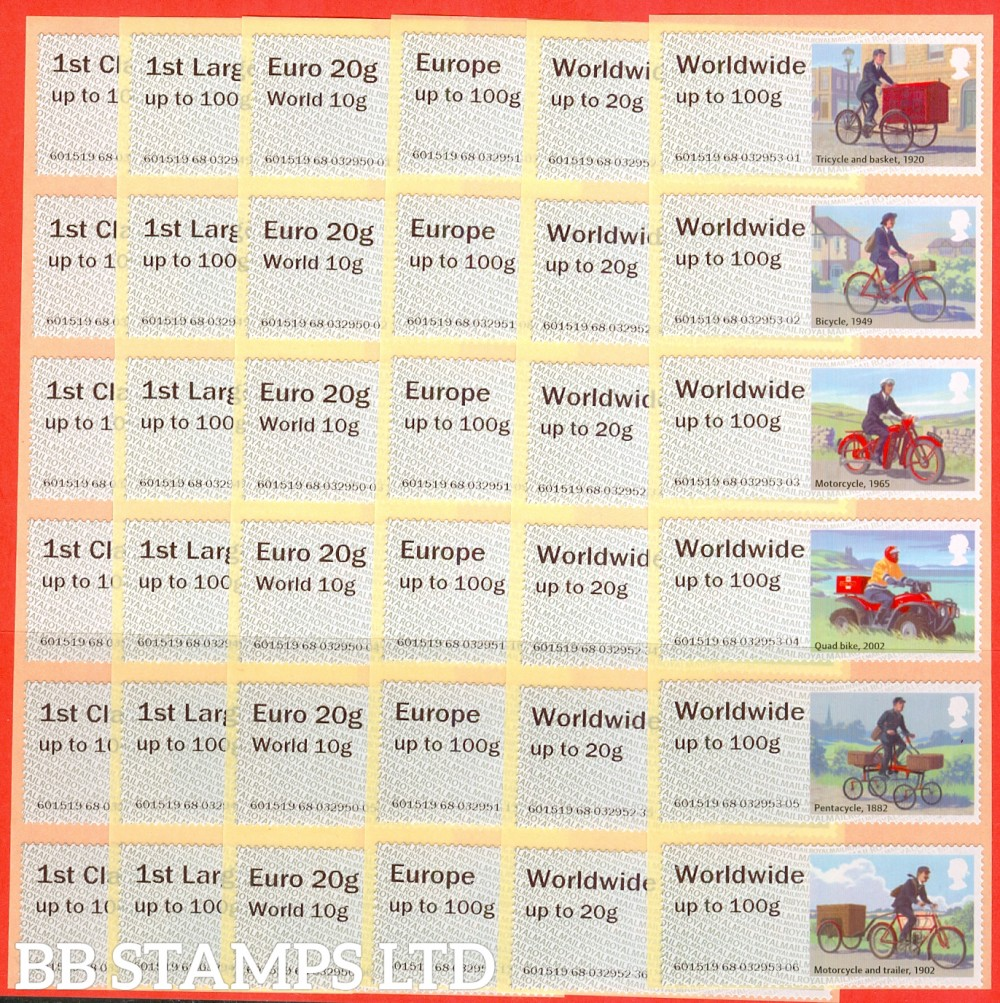 Royal Mail Heritage Mail By Bike: 1st - W/Wide 100g (Set of 36) Type IIA R18 (only Type IIA being issued) (BK13,P12)
