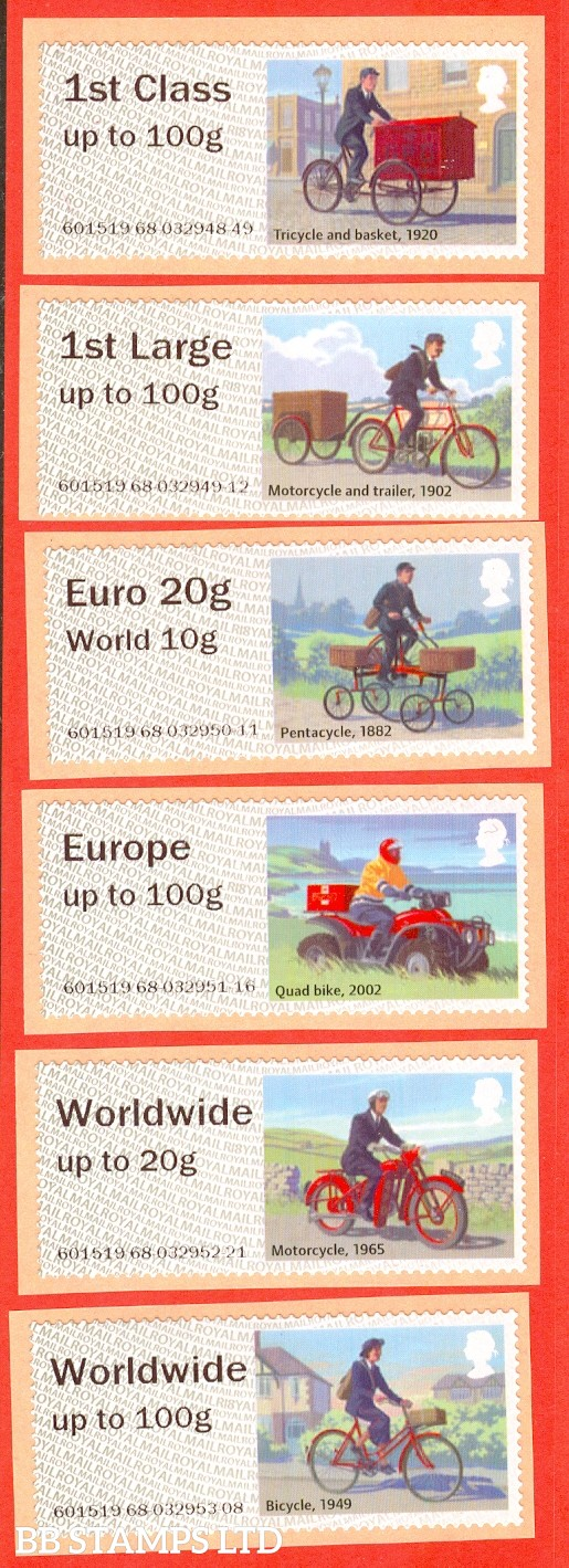 Royal Mail Heritage Mail By Bike: 1st Class - Worldwide 100g (set of 6) R18 Type IIA (only Type IIA being issued) (BK13,P11)