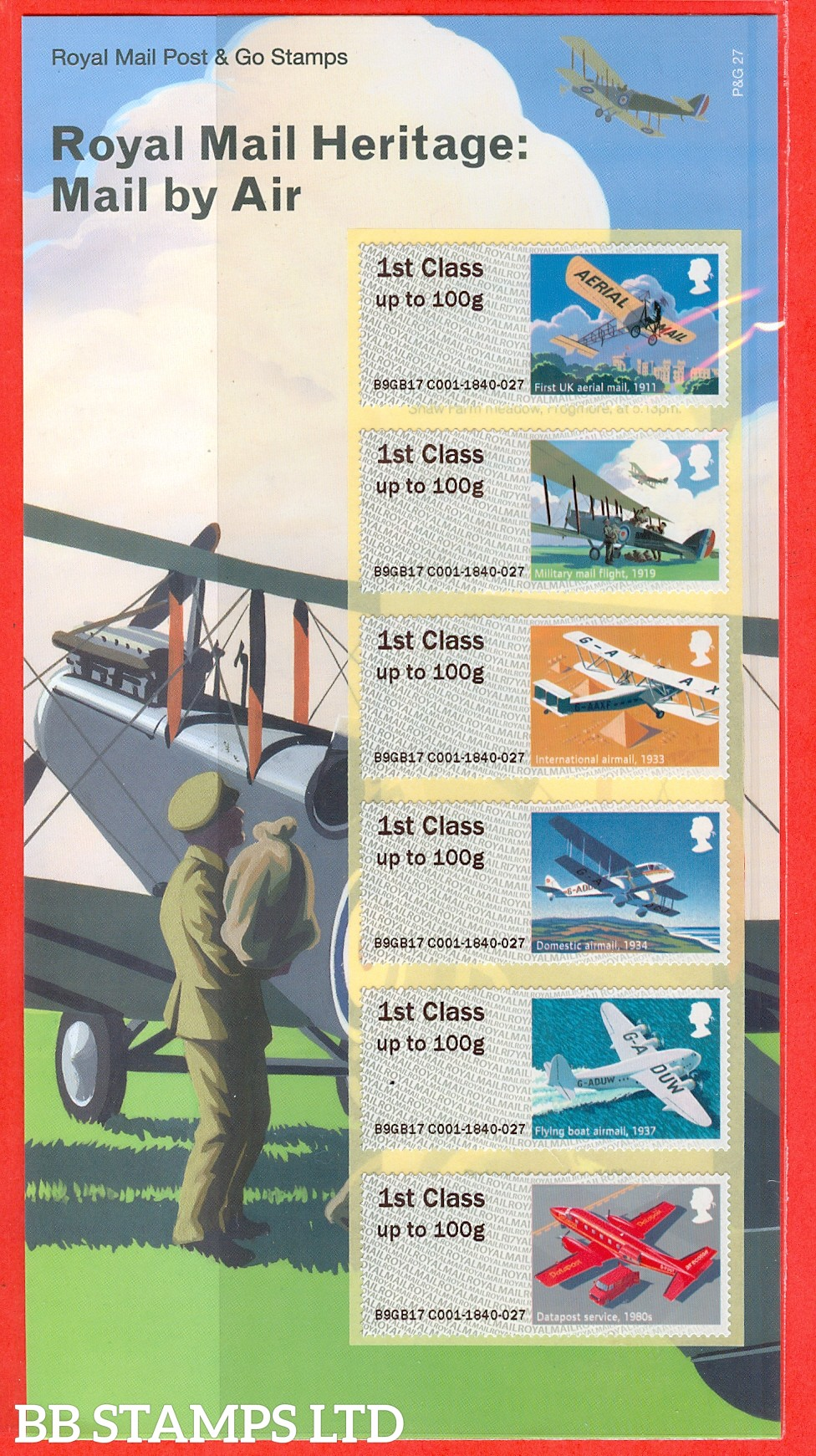 Heritage: Mail By Air set of 6 1st Class