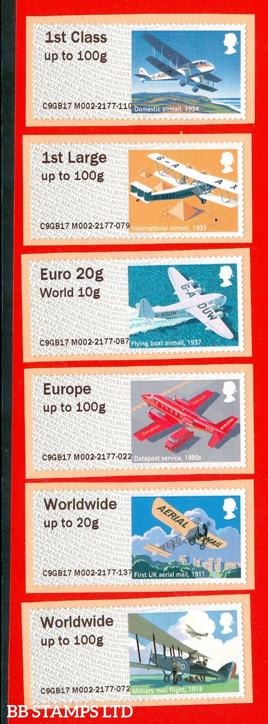 Heritage: Mail By Air 1st - W/Wide 100g Type IIIA R17 (set of 6)