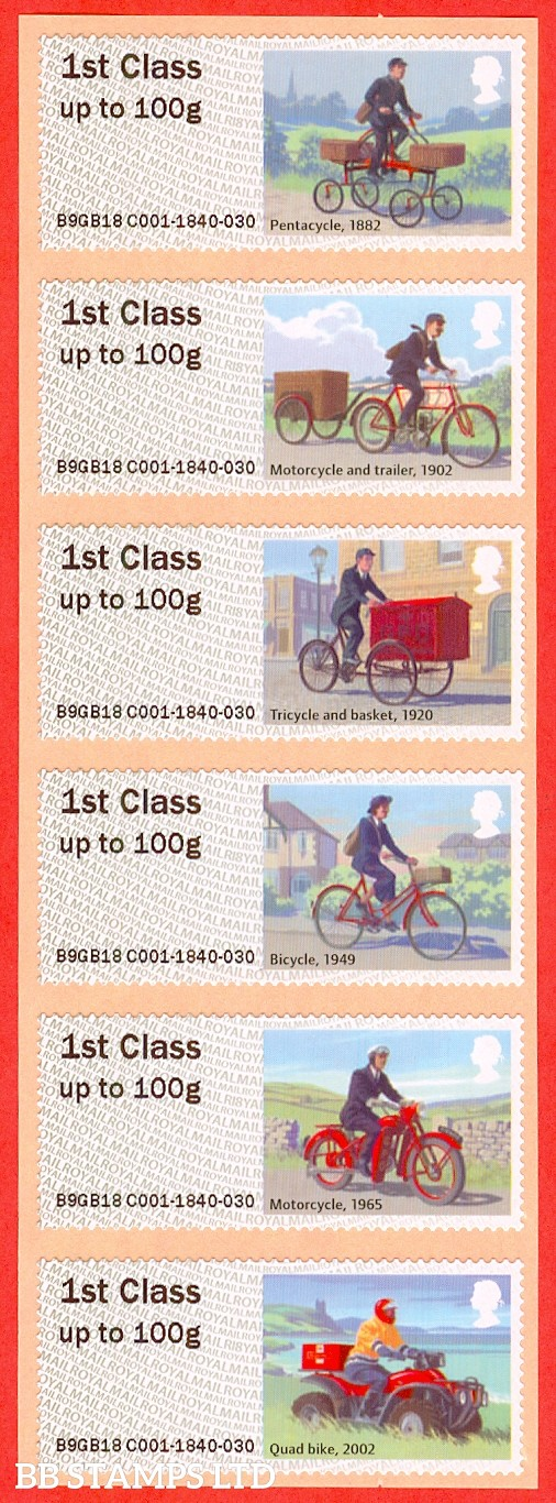 Royal Mail Heritage Mail By Bike set of 6 1st Class: R18 Type IIIA (Pack)