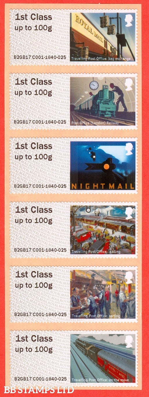2017 Post and Go Royal Mail Heritage Mail By Rail. 6 x 1st Class Different Designs (Pack). (P&G 25)