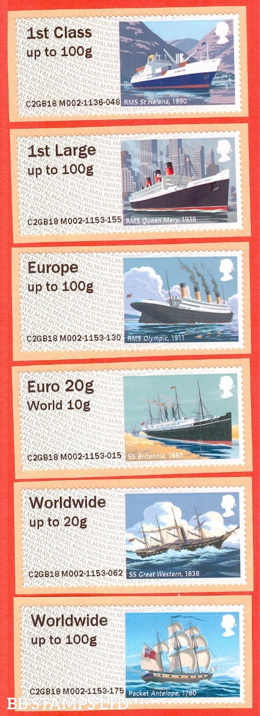 2018 Royal Mail Heritage: Mail By Sea 1st - W/Wide 100g Type IIIA R18 (Set of 6) Picture variations will occur (BK13,P10)