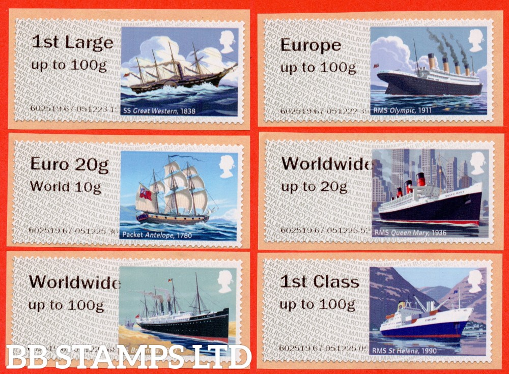 2018 Royal Mail Heritage Mail By Sea: 1st - W/Wide 100g Type IIA R18 (set of 6) Picture variations will occur