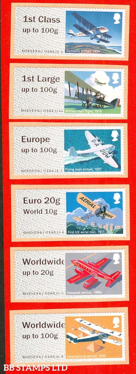 2017 Heritage: Mail By Air 1st - W/Wide 100g Type IIA: set of 6 (Picture variations will occur)