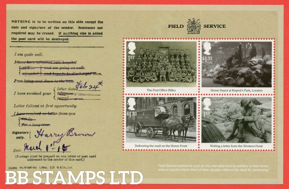 1st Class and £1.33 x 2 Commemorative's From DY18 ( Great War 16 ) ( Pane 4 )