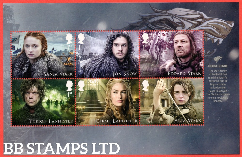 6 x 1st Class Commemerortives's From DY24 ( SG. 4033/5 & 4038/40. ( Game of Thrones ) ( Pane 1 )