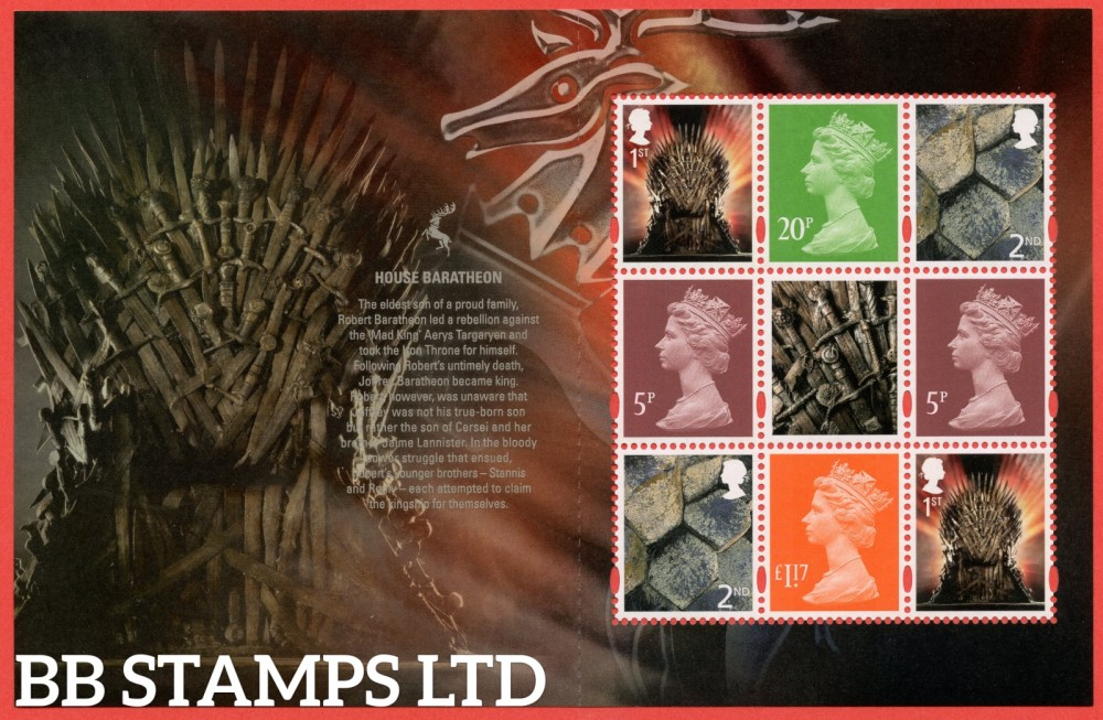 2 x 1st & 2 x 2nd Class Commemerortives's 2 x 5p, 20p, £1.17 From DY24 ( SG. 4049 ) ( Game of Thrones ) ( Pane 4 )