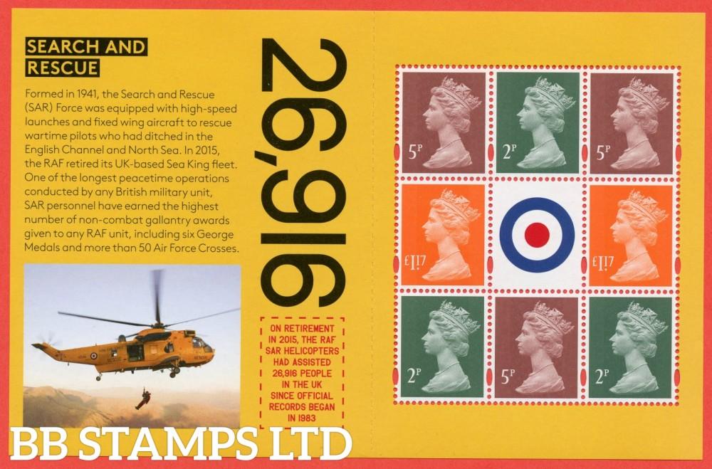 5p & 2p x 2 & 2 x £1.17 Machin's From DY25 ( SG. U3071d & U3072f x 3 & U3084a ( Missing 'P' ) ) ( RAF Centenary ) ( Pane 5 )