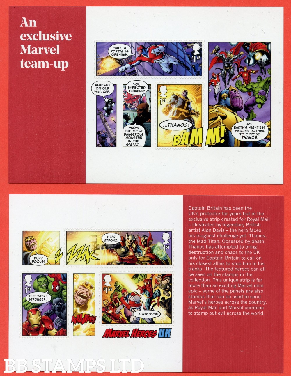 2019 Marvel Split M/S from DY29 ( Panes 3 & 4 ) ( 2 Panes ) ( Booklet Panes 4195a & 4196a as MS4192 but split with enlarged margins. Includes 5 stamps SG. 4195,4196,4197,4198,4199. (14.03.19)