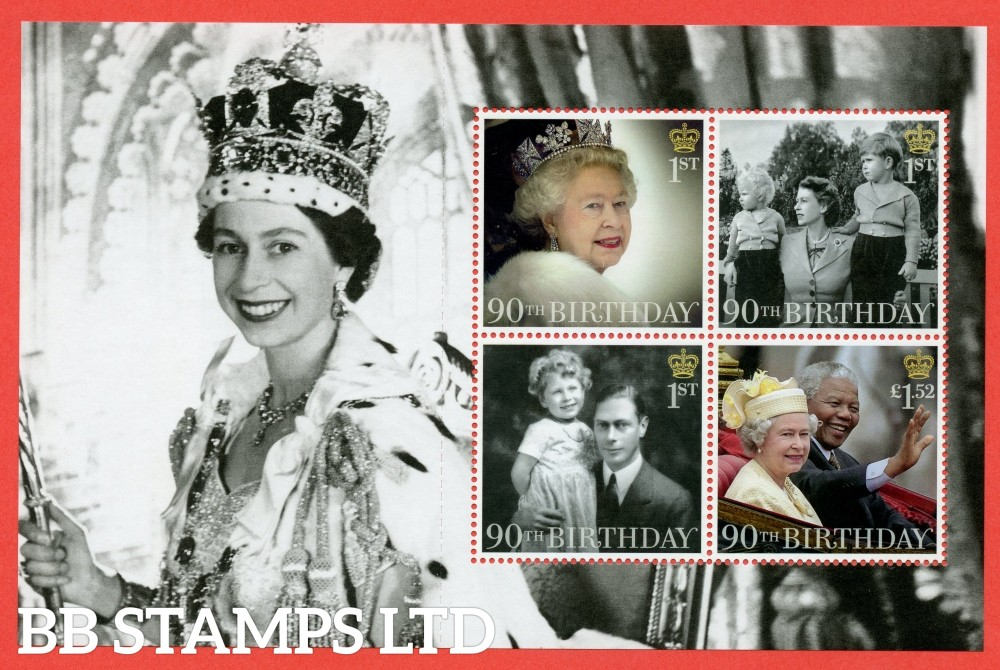 1st Class x 3 and £1.52 x 1 Commemorative's From DY17 ( Queens 90th Birthday ) ( Pane 2 )