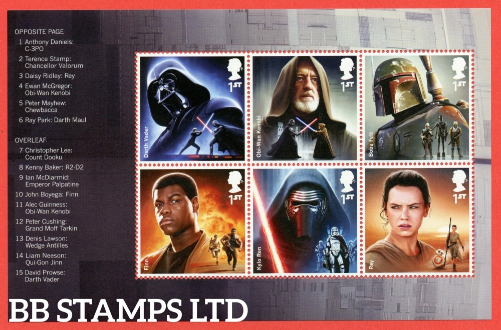 1st Class x 6 Commemorative's From DY15 ( Star Wars ) ( Pane 1 )