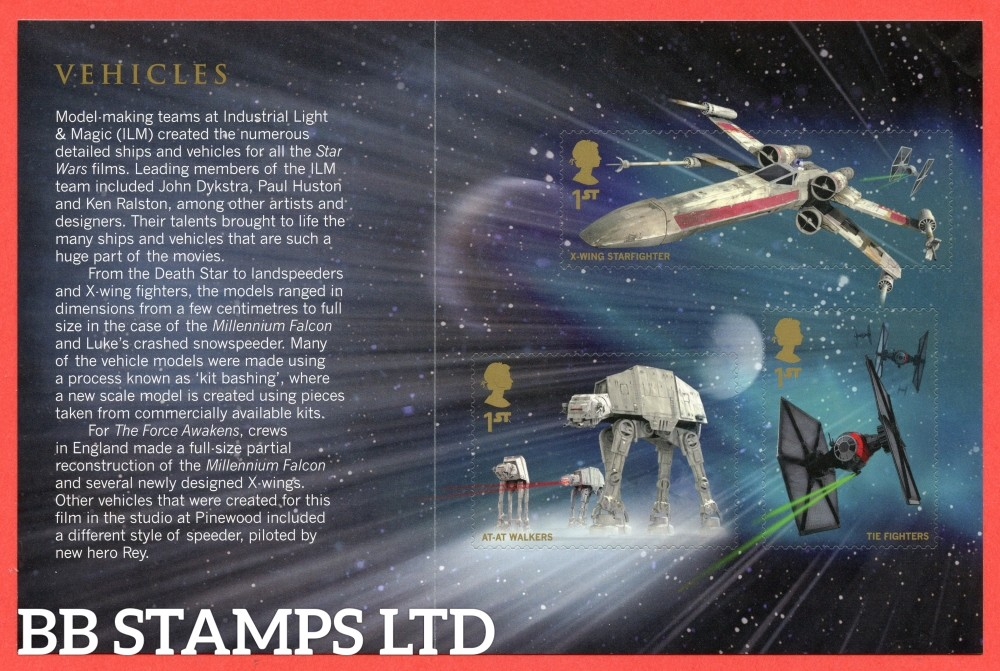 1st Class x 3 Commemorative's From DY15 ( Star Wars ) ( Pane 2 )