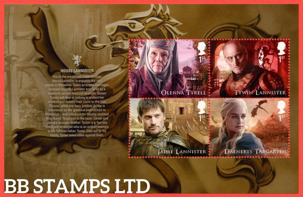 4 x 1st Class Commemerortives's From DY24 ( SG. 4036/7 & 4041/42. ( Game of Thrones ) ( Pane 2 )