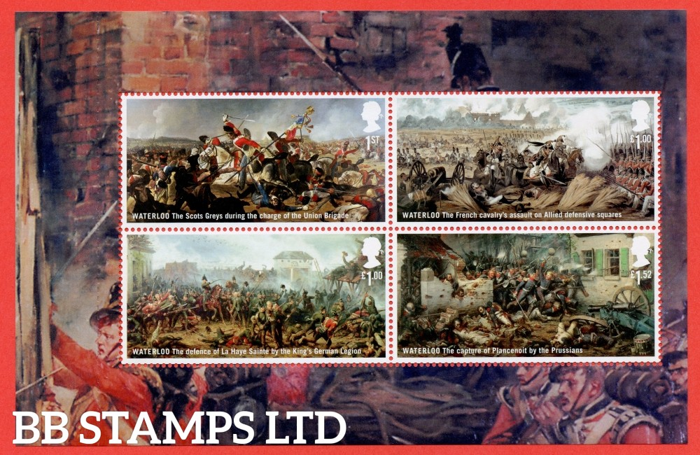 1st Class x 1, £1.00 x 2 and £1.52 Commemorative's From DY14 ( Battle of Waterloo ) ( Pane 2 )