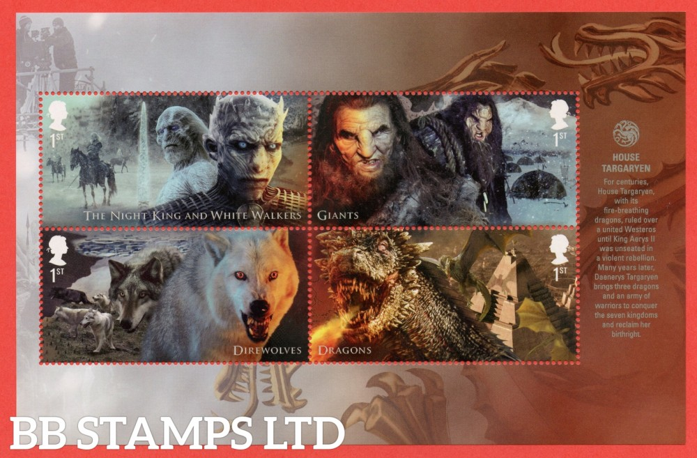 4 x 1st Class Commemerortives's From DY24 ( SG. 4045 - 4048. ( Game of Thrones ) ( Pane 3 )