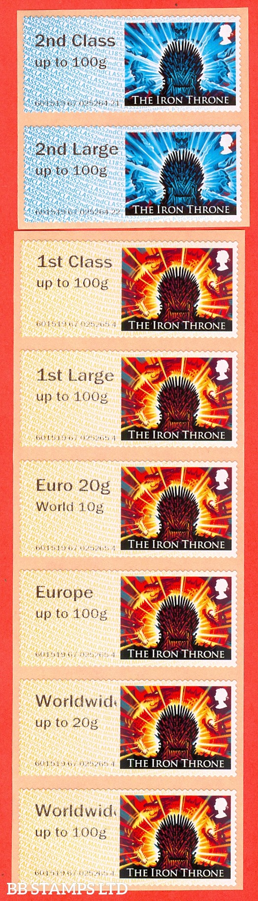 2018 Game of Thrones - The Iron Throne: 2nd - Worldwide 100g (set of 8) Type IIA R18/CL18 (NCR)