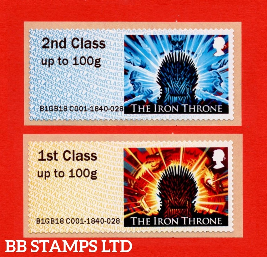 2018 Game of Thrones: 2nd and 1st (two stamps, two designs) Type IIIA: CL18/R18Y (Pack P&G 28)