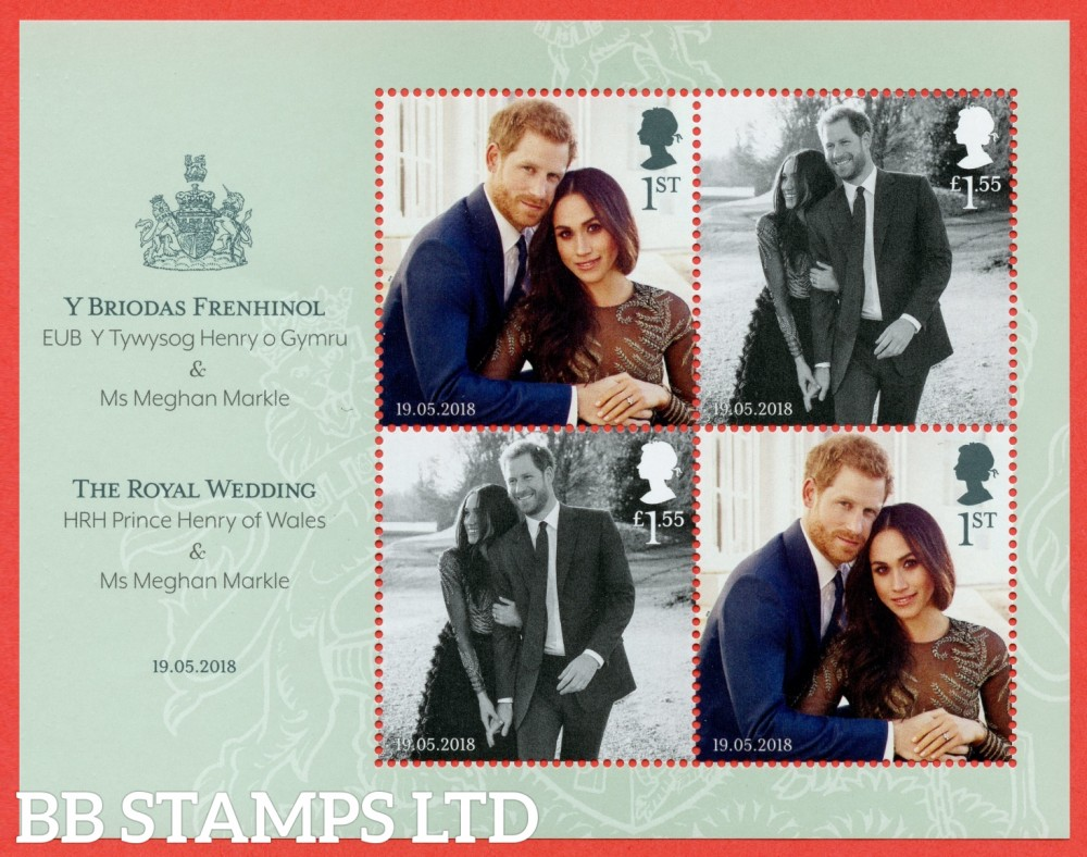 2018 Royal Wedding HRH Prince Henry & Ms Meghan Markle Minisheet - NO BARCODE