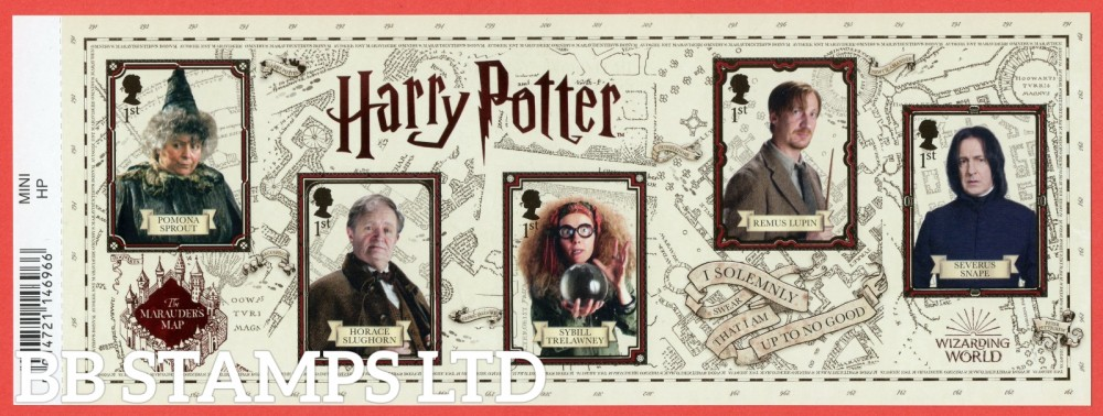 2018 Harry Potter Minisheet WITH BARCODE. When Placed under UV light parts of the Design light up green and reveals additional information.