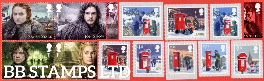 2018 Year Set. Game of Thrones to HRH Prince Of Wales year set. (items as listed above respective column) 39 issues U/M & F/U, 24 FDC, 18 PACKS