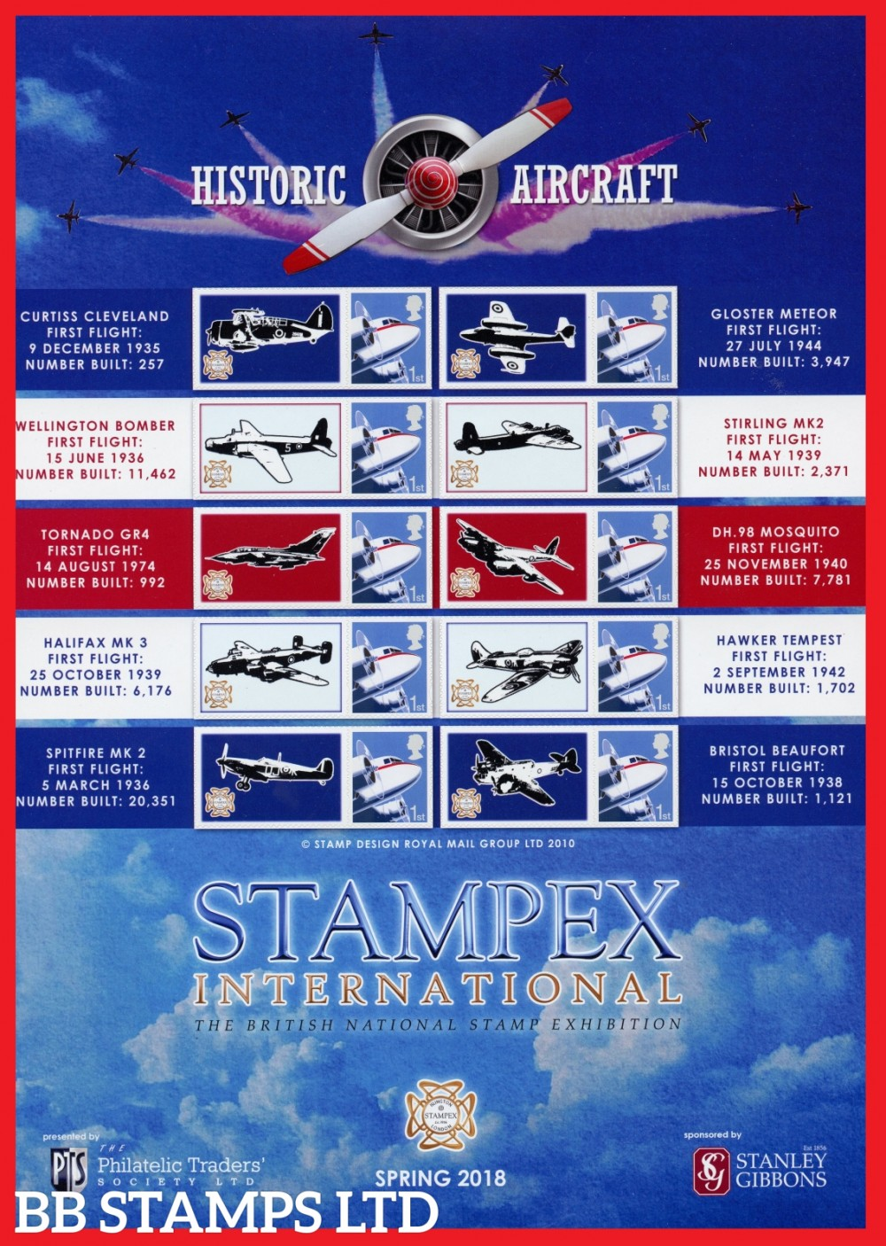 2018 Historic Aircraft Spring Stampex In a sheet of 10 with labels.