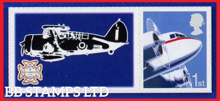 2018 Historic Aircraft Spring Stampex Single stamp with label (Label May Vary)
