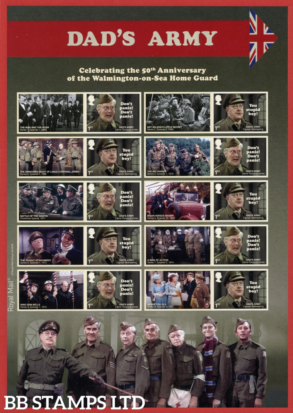 2018 Dads Army 50th Anniversary Smiler Sheet.