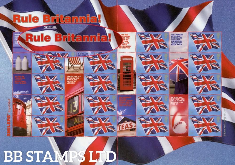 2004 Rule Britannia Smilers Sheet. Vermilion Shade ERROR.