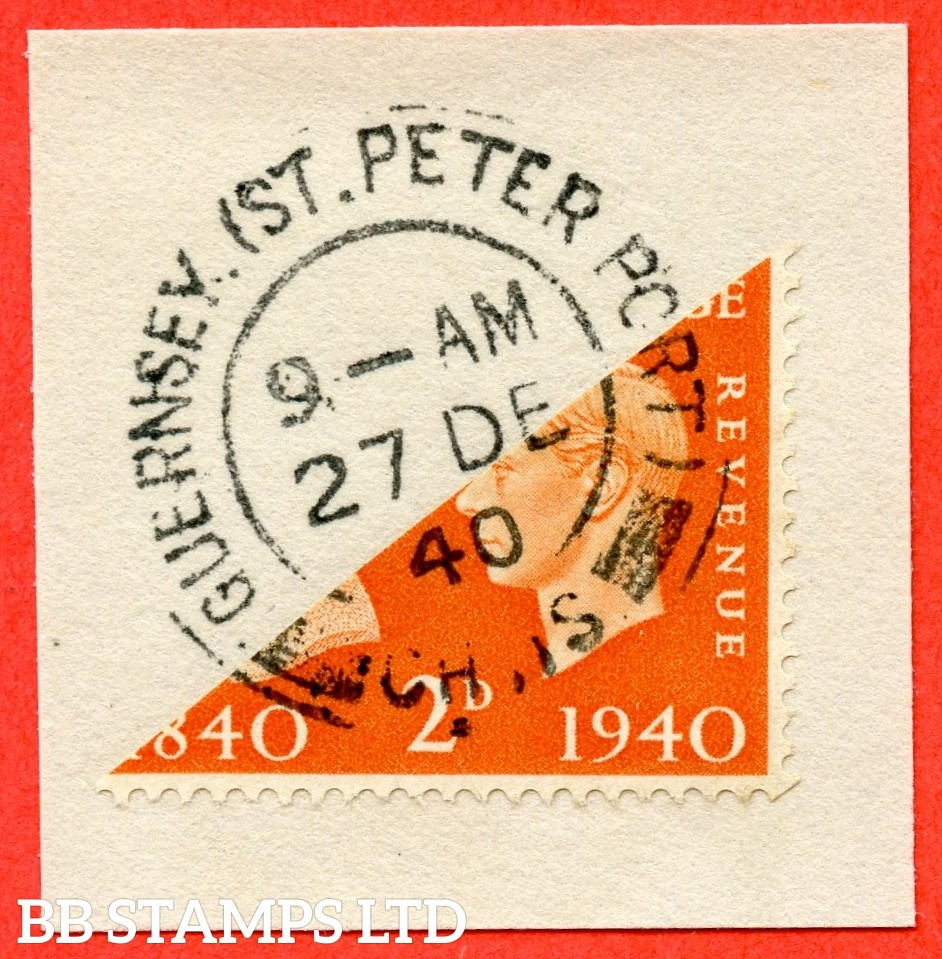 Guernsey 1940 2d Centenary Bisect - dated 27th December 1940. ( First Day of issue ).
