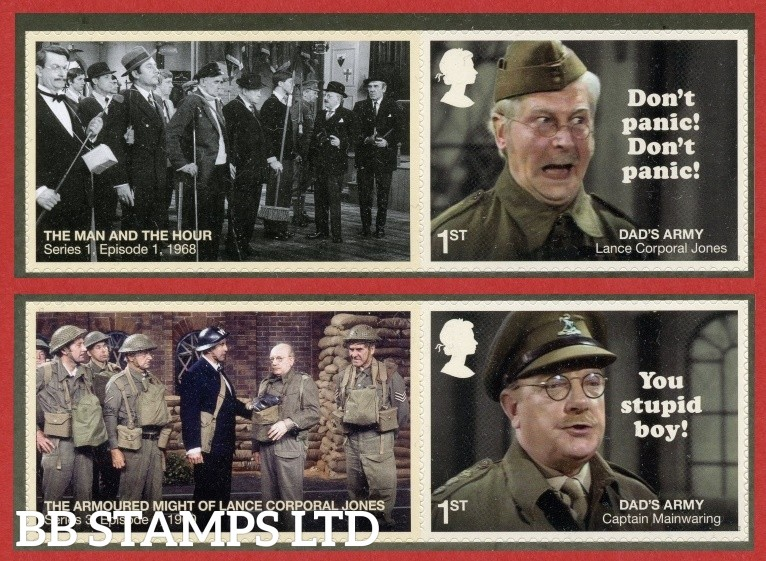 2018 Dads Army 50th anniversary set of 2 different stamps with labels
