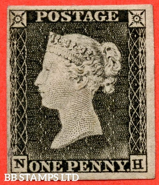 """SG. 3. A1 (3). AS3. """" NH """". 1d grey black ( very worn plate ). Plate 1a. A decent mounted mint example with the """" Ray flaws 10 & 5 o'clock NW SQ. """" variety."""