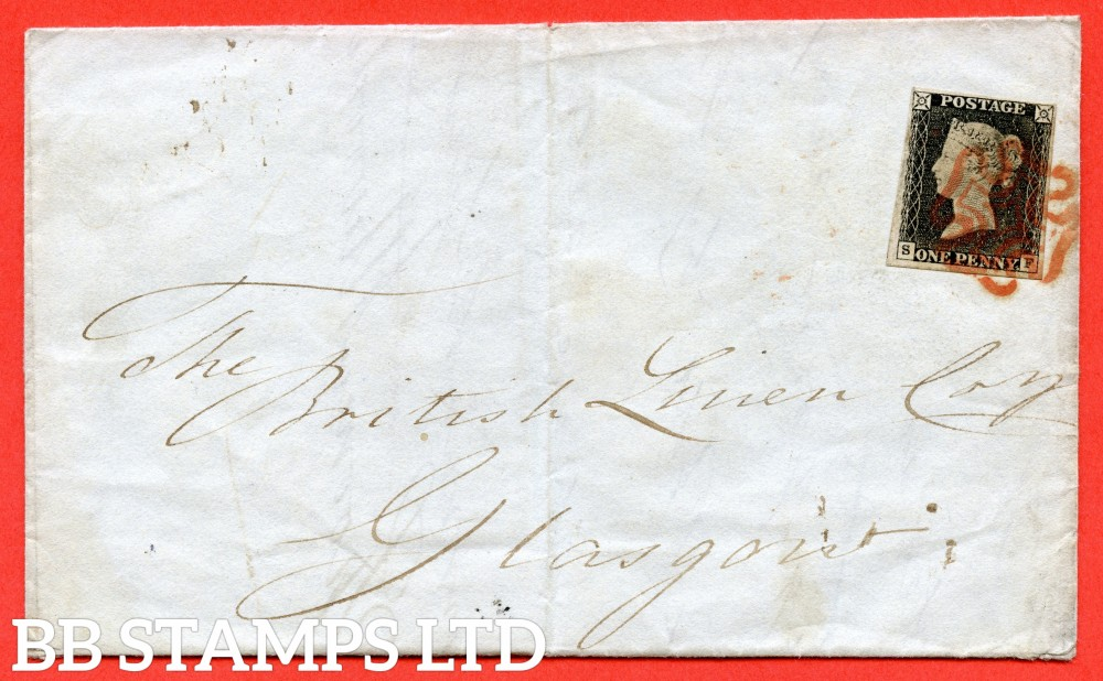 """SG. 3. A1 (3). AS2. """" SF """". 1d grey-black ( worn plate ). Plate 1a. A fine used example on cover from LONDON to GLASGOW dated 13th July 1840. With the """" Ray flaws 10 / 5 NW square """" variety."""