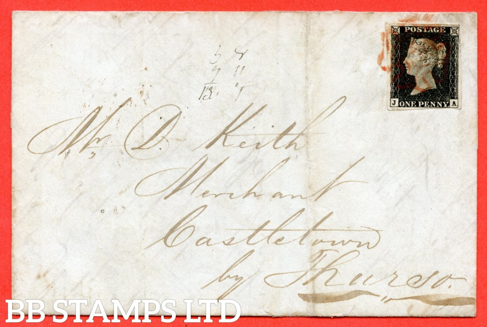 """SG. 2. A1 (2). AS1. """" JA """". 1d black. Plate 1a. A fine used example on cover from GLASGOW via EDINBURGH to KINGSTOWN dated 2nd June 1840. With the """" Ray flaws 10 / 5 NW square """" variety."""