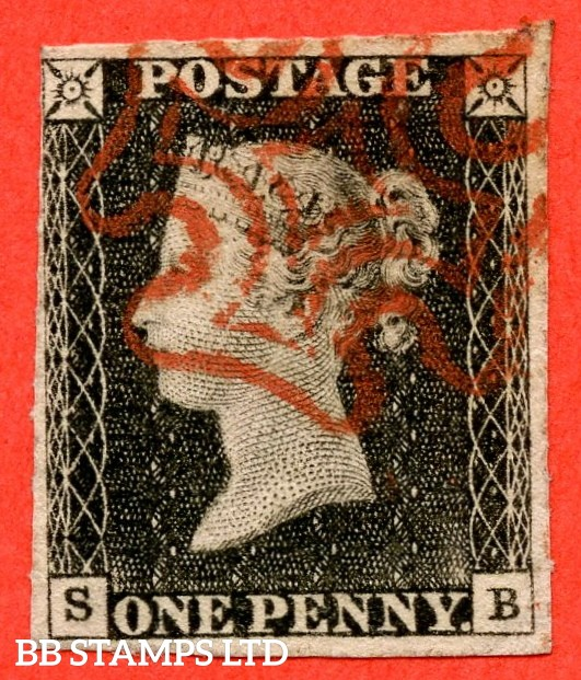 """SG. 3. A1 (3). AS2. """" SB """". 1d grey-black ( worn plate ). Plate 1a. A fine used example with the """" Ray / flaws 10 / 5 NW square """" variety."""