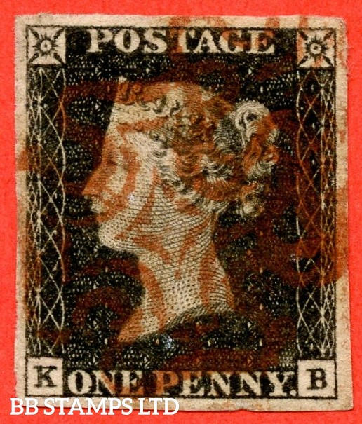 """SG. 2. A1 (2). AS2. """" KB """". 1d grey-black. Plate 1a. A good used example cancelled with a red maltese cross. With the constant variety """" Ray flaws 10 / 5 NW square """"."""