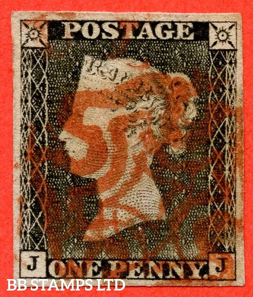 """SG. 3. A1 (3). AS3. """" JJ """". 1d grey black ( very worn ). Plate 1a. A fine used example cancelled by a red maltese cross with the """" Ray Flaws 10 / 5 NW square """" variety."""