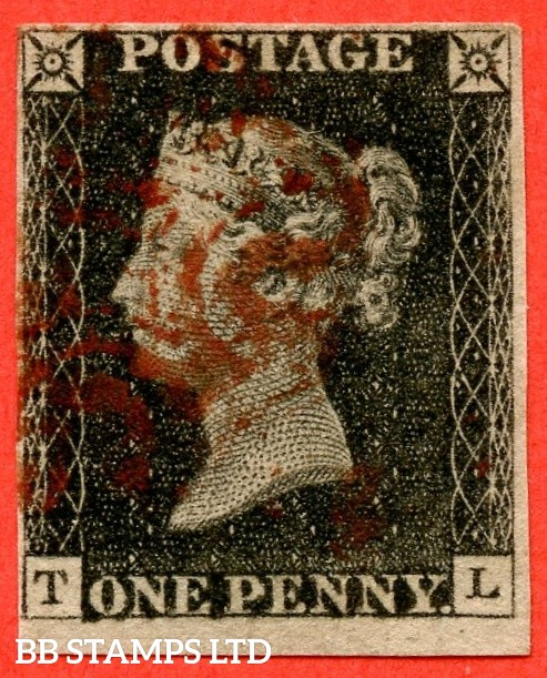 """SG. 2. A1 (2). AS5. """" TL """". 1d black. Plate 1b. A good used example cancelled by a red Maltese cross with the """" No Ray flaws and slight basal shift """" varieties."""