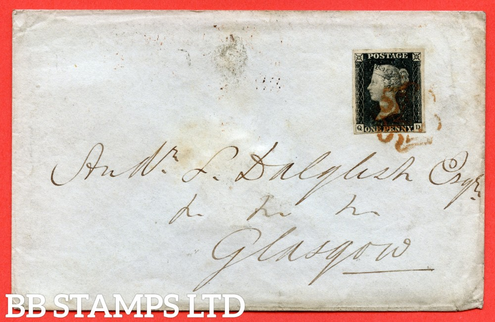 """SG. 2. A1 (2). AS5 g. """" QD """". 1d black. Plate 1b. A very fine used example on cover from EDINBURGH to GLASGOW dated 30th December 1840. With the listed variety """" Burr rub to baseline with ' NE ' of ' ONE ' nearly joined. """"."""