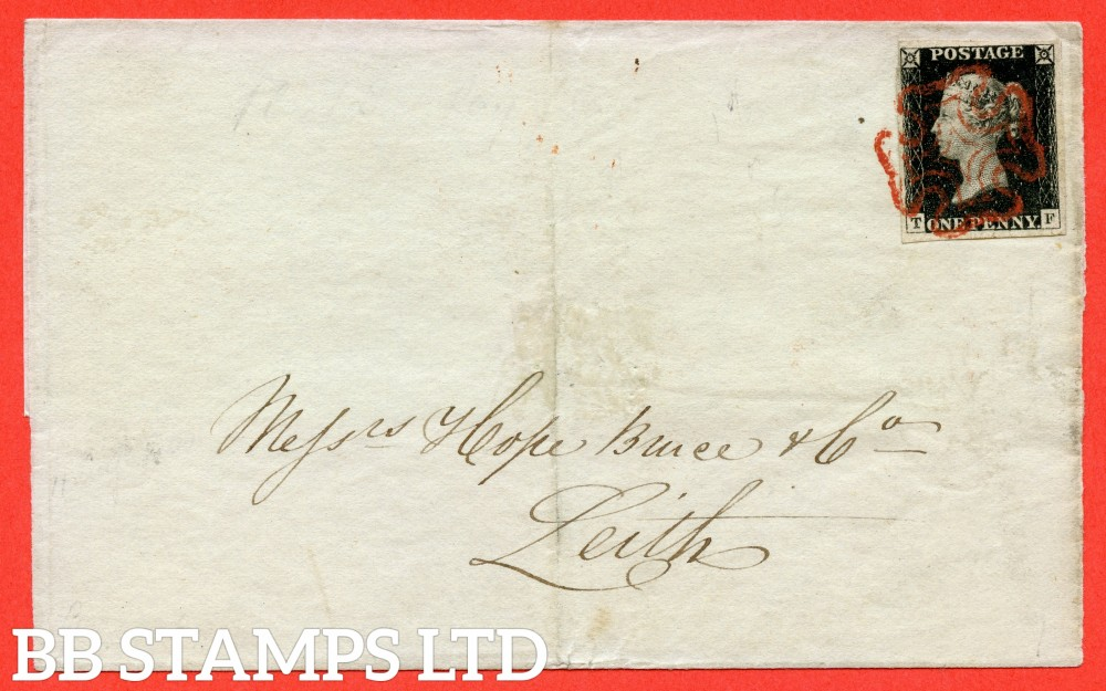 """SG. 2. A1 (2). AS5. """" TF """". 1d black. Plate 1b. A fine used example on cover from PERTH to LEITH via EDINBURGH dated 11th August 1840. With the """" Ray Flaws 10/7 NW square """" variety."""