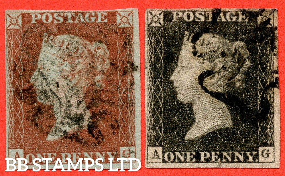 """SG. 2 & 7. A1 (2) & A2. AS5 & AS6 . """" AG """". 1d black. Plate 1b. A good used matched pair with the """" Ray flaws 10 / 7 NW square and short vertical line from ' P ' of ' POSTAGE ' into top margin """" varieties."""