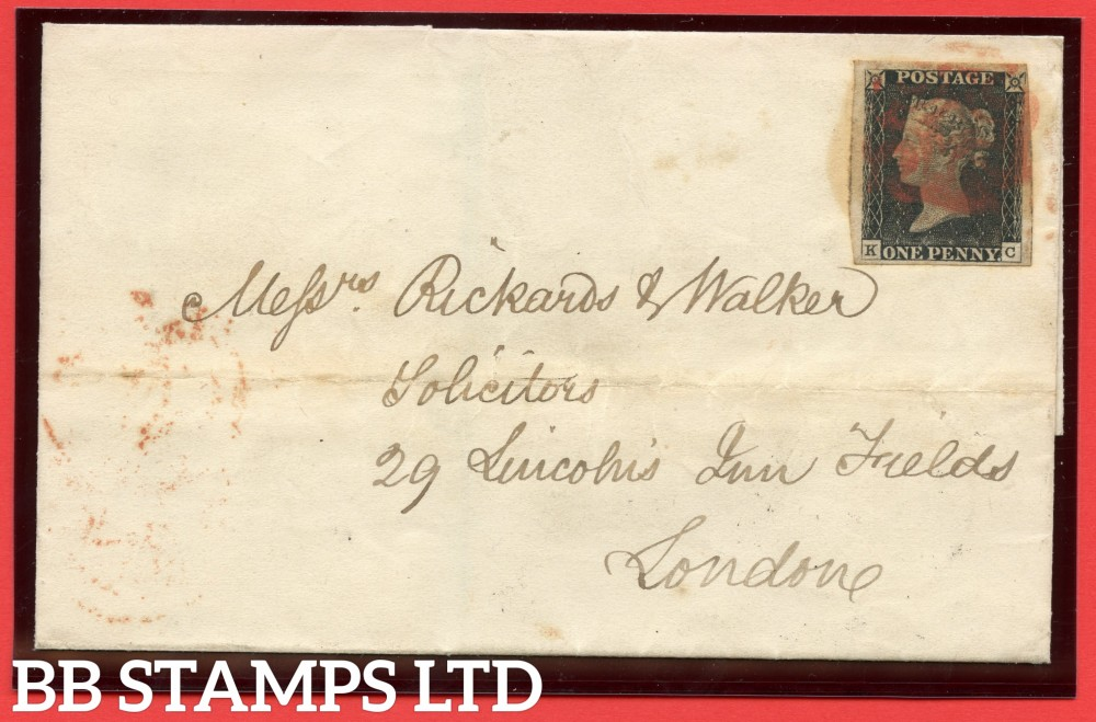 "SG. 2. A1 (2). AS5. "" KC "". 1d black. Plate 1b. A fine used example on cover from NORTHAMPTON to LONDON dated 2nd December 1840."